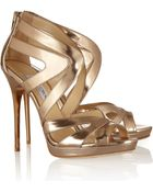 Jimmy Choo Collar Mirrored-Leather Sandals - Lyst