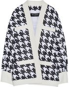 Balmain Leather-Trimmed Houndstooth Woven Jacket - Lyst