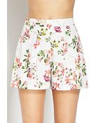 Forever 21 Floral Satin Pleated Shorts - Lyst