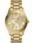 Michael Kors Ladies Layton Gold-Tone And Glitz Watch - Lyst