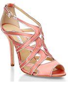 Oscar de la Renta Pink Satin Sandals - Lyst
