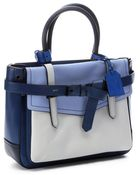 Reed Krakoff Blue And White Leather Colorblock 'Boxer' Medium Tote Bag - Lyst