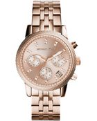 Michael Kors Women'S Chronograph Ritz Rose Gold-Tone Stainless Steel Bracelet Watch 37Mm Mk6077 - Lyst