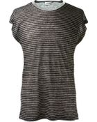 Saint Laurent Grey, Black And Ivory Striped Linen T-Shirt - Lyst
