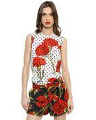 Dolce & Gabbana Polka Dot Stretch Cotton Poplin Top - Lyst