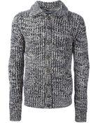 Dolce & Gabbana Ribbed Knit Cardigan - Lyst