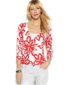 Inc International Concepts Printed V-Neck Cardigan - Lyst
