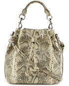 Rebecca Minkoff Fiona Snake-Embossed Bucket Bag - Lyst