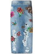 Marco Bologna Patchwork Denim Pencil Skirt - Lyst