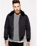 Schott Nyc Bomber Jacket With Faux Fur Collar - Lyst