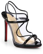 Christian Louboutin Aqua Ronda Patent Leather Slingback Sandals - Lyst