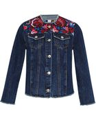 MSGM Floral Embroidered Denim Jacket - Lyst