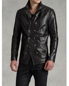 John Varvatos Double Breasted Leather Jacket - Lyst