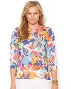 Lauren by Ralph Lauren Plus Size Floral-Print Sweater - Lyst