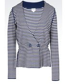 Armani Double-Breasted Jacket In Striped Viscose Blend - Lyst