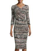 Lafayette 148 New York Ruched Printed Midi Dress - Lyst