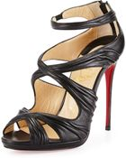 Christian Louboutin Kashou Pleated Crisscross Red Sole Sandal - Lyst