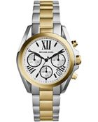 Michael Kors Mini Two-Tone Stainless Steel Bradshaw Chronograph Watch - Lyst