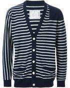 Sacai Striped V-Neck Cardigan - Lyst