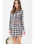 Forever 21 Belted Plaid Shirt Dress - Lyst