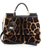 Dolce & Gabbana Miss Sicily Leopard-Print Velvet Satchel - Lyst