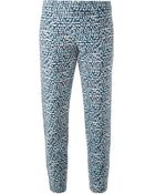 Tory Burch Tonal Print Cropped Trousers - Lyst