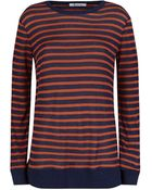 T By Alexander Wang Long Sleeve Striped Linen T-Shirt - Lyst