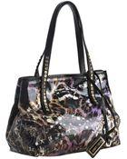 Jimmy Choo Black Leopard Print Glazed Canvas Scarlet Small Tote Bag - Lyst