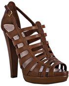 Miu Miu Coconut Leather Cage Platform Sandals - Lyst