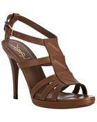 Saint Laurent Chocolate Leather New Riveg 90 Sandals - Lyst