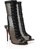 Christian Louboutin Attention 100 Cutout Mesh and Leather Boots - Lyst