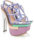 Versace Dvea Patent-leather Platform Sandals - Lyst