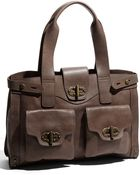 Tarnish Turnlock Flap Pocket Leather Shopper - Lyst