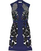 Saint Laurent Printed Silk Crepe De Chine Dress - Lyst