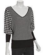 Rosel Black Houndstooth Knit V-neck Sweater - Lyst