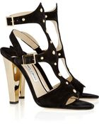 Jimmy Choo Fire Studded Suede Sandals - Lyst