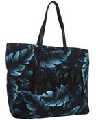 Lanvin Turquoise Leaf Print Canvas Tote - Lyst