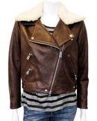 Acne Studios Rite Moto Jacket in Brown - Lyst