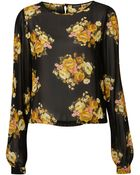 Topshop Yellow Bloom Blouse - Lyst