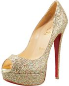 Christian Louboutin Lady Glittered Peep-toe Pump - Lyst