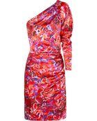 Emanuel Ungaro Floral-print Hammered Silk-satin Dress - Lyst
