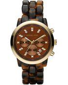 Michael Kors Oversized Tortoise Watch - Lyst