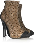 Maison Margiela Leather and Spotted-tulle Ankle Boots - Lyst
