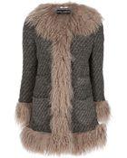 Dolce & Gabbana Shearling Trimmed Coat - Lyst