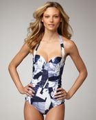 Oscar de la Renta Printed Halter One-piece Swimsuit - Lyst