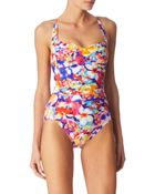 Seafolly Avant Garden Twist Bandeau Swimsuit - Lyst