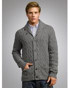 Polo Ralph Lauren Shawl Neck Knit Cardigan Gents Heather - Lyst