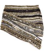 Balmain Crystal-embellished Metallic Silk Mini Skirt - Lyst