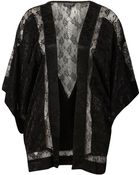 Topshop Lace Insert Kimono - Lyst