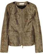 MICHAEL Michael Kors Metallic Silk-blend Tweed Jacket - Lyst